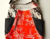 orange hobo cross body bag, Batik  sling hobo bag, messenger batik bag, tote bag with pockets and  zipper, vintage batik, black and white