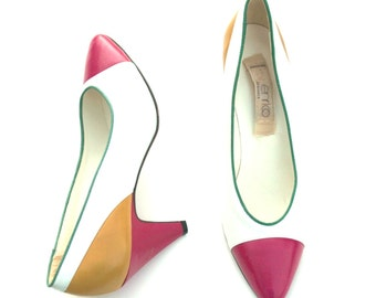 Vintage Enrico Multicolored Leather Classic Dress Heels Shoes Sz 7.5