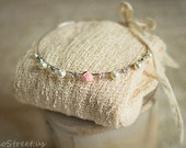 Baby Headband and Baby Wrap Set, Cream Wrap, Pearl Crown, Stretch Knit Wrap, Baby Girl Photo Prop, Newborn Props, Baby props, RTS, Baby Halo