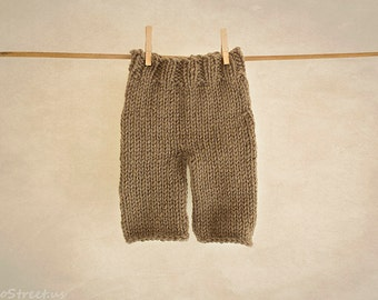 Baby Pants, Baby Diaper Cover, Newborn Props, Baby Props, Brown Pants, RTS, Natural Props, Baby Boy Props, Newborn Props, Baby Knit Pants