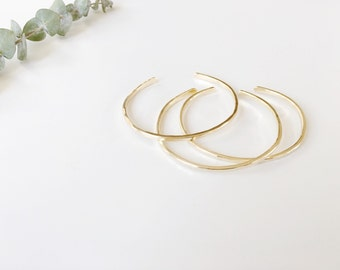 Minimalist Brass Stacker | Hammered Stacking Bracelet | Simple Gold Cuff