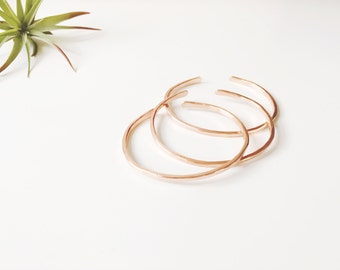 Minimalist Copper Stacker | Stacking Bracelet | Rose Gold Hammered Cuff | Spring Style