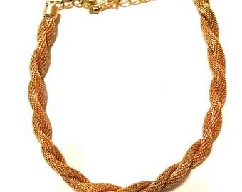 Gold mesh rope vintage necklace adjustable 1960s Vintage Jewelry