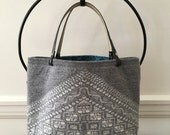 Gray and White Graphic Felted Tote Bag