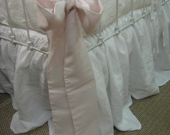 Ruffled Washed Linen Crib Bedding-Storybook Crib Skirt-Vintage White Ruffled Bumpers with Tiny Ties-3 Oversized Sash Separates