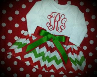 Chevron dress, Christmas dress, girls dress, monogrammed dress, red and green dress