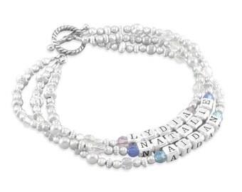 Mothers Bracelet, Nana Bracelet, Name Bracelets. Sterling Silver. Personalized. Mothers Day Gifts For Mom or Grandma. Multi Strand LYDIA