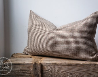 Houndstooth and linen pillow cover