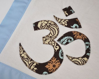 "Personalized Organic Buddha ""Om"" Blanket for Baby Boy -- Blue and Brown"