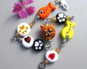 Marmalade Cat Lover Bracelet Paw Print handmade lampwork glass beads siamese turquoise