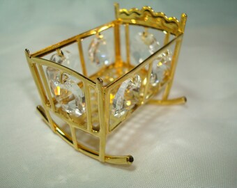 1980s Gold Tone with Crystals Miniature Doll Baby Cradle.