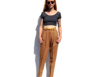 Camel / tan high waist high rise dress wool trousers PETITE 1990s 90s VINTAGE