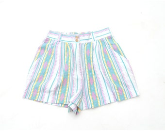 SALE!!!!!!!!!!!! Pastel navajo print shorts high rise high waist 1990s 90s VINTAGE