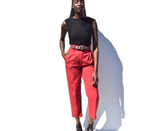 Brick red high rise high waist tapered trousers 1990s 90s VINTAGE