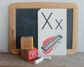 Vintage 1975 Schoolhouse Flash Card // Letter Xx // Milton Bradley ABC Flash Cards