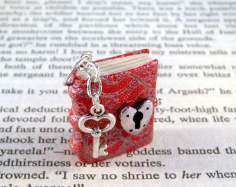 Miniature Book Necklace Charm Under Lock and Key Heart Lock and Key Red