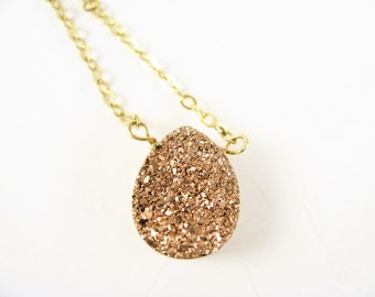 ROSE GOLD DRUZY Necklace, Drusy Necklace, Raw Stone Necklace