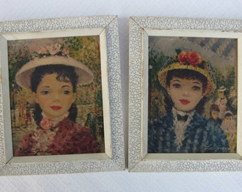 "Pair of Vintage Prints, French Girls, ""La Jana"""