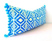 Ikat Lumbar Pillow Cover, bohemian decor, Blue Ikat Lumbar, long lumbar pillow, lumbar throw pillow,