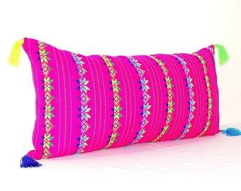 Pink Pillow Covers 14x28 Inch, Tribal Pillows Covers, Hot Pink Pillow Covers, Bohemian Decor, Boho Cushion Cover, Mexican Blanket Pillowcase