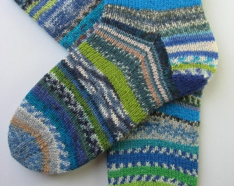 blue green crazy socks, hand knitted womens wool socks, UK 4-6 US 6-8, fun wool socks, mismatched socks, bright striped socks