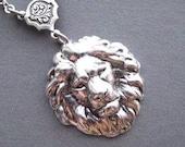 Lion Necklace - Lion Head Pendant - Lion Jewelry - Strength Jewelry - Leo Jewelry - Bravery Necklace - August Birthday - Courage