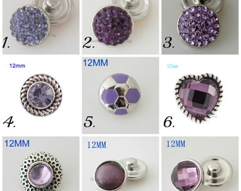 Mini snap charms in all shades of purple and compatible with Petite Ginger Snaps Jewelry.