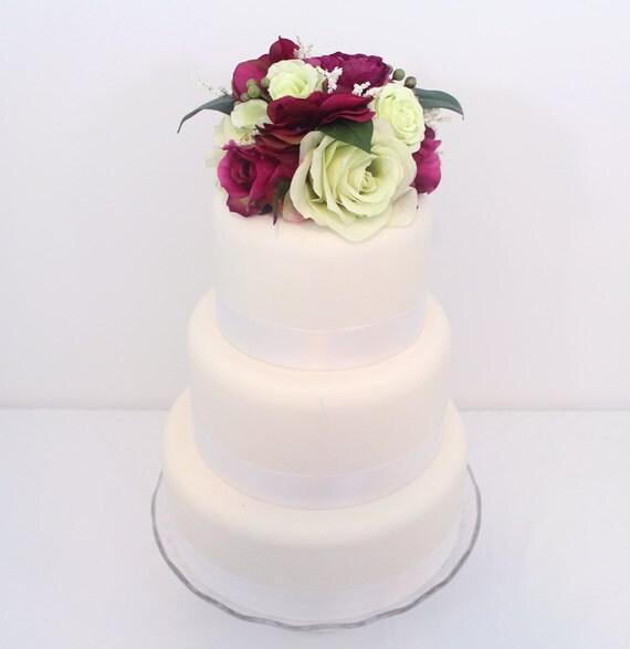 Wedding Cake Topper Green Magenta Rose And Hydrangea Silk