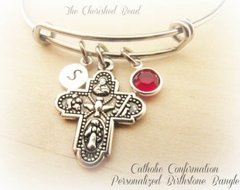 Catholic Confirmation Scapular Holy Spirit Cross Personalized Stainless Steel Bangle with Birthstone Crystal