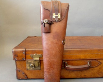 WWII Era English Leather Gun Case from England - Antique Shot Gun Case - Military Gun Case