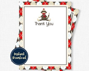 Sock Monkey Thank You Cards, Monkey Thank You, Birthday Thank You Notes, Boy Thank You Cards, Printable INSTANT DOWNLOAD
