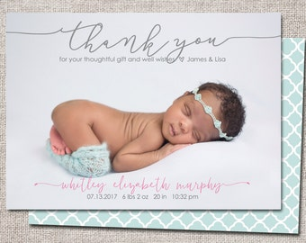 Birth announcement, baby girl announcement, baby announcement, thank you card, printable, girl birth announcement thank you card