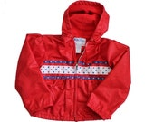 BLOWOUT 40% off sale Vintage Weather Tamer Spring Coat - Girls Size Large - Childrens, red white blue, Stars