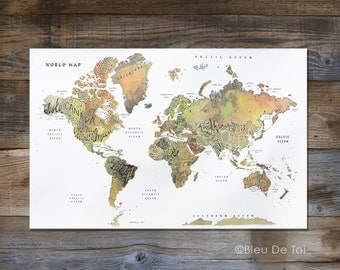 "Watercolor World Map, Hand lettered map, fine-art map, large wall map, 24x36"", home decor, explorer map print, gender neutral nursery art"