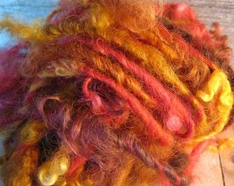 Lock spun handspun wool curls big and chunky art yarn trim Blaze