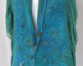 Nuno Felt Wrap in Blue/Green