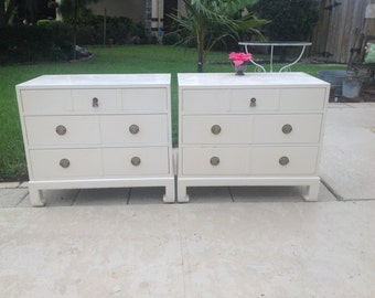 "ASIAN STYLE NIGHTSTANDS Pair of Gorgeous Asian Oversized Nightstands 31"" Long Chinoiserie Chest of Drawers Ready for a Redo Retro Daisy Girl"