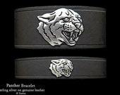 Panther Leather Bracelet Sterling Silver Black Panther Head on Leather Bracelet