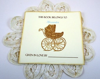 Custom Baby Boy Bookplates, Baby Carriage Bookplates, Personalized Bookplates