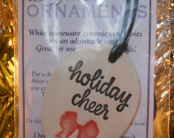 Diffuser Ornament - White Stoneware - Christmas - Holiday Cheer