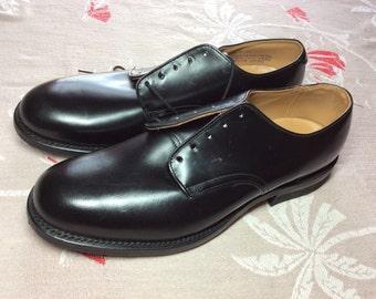 Deadstock 1970's 1974 Black Military deck Shoes size 8.5 NOS Vietnam War era DJ Leavenworth leather soles