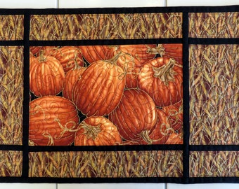 Quilted Harvest pumkin wheat placemats with metalic accents and black trim