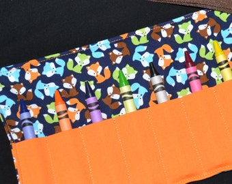 Crayon Roll Up - Boys Birthday Party Favor Foxes - crayon roll for toddler