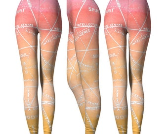Spirit Soul Body Alchemy Leggings - Sacred Geometry Leggings - Ombre Gradient Leggings - Watercolor Pink Orange Leggings - Yoga Pants