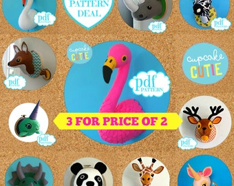 Animal head sewing pattern. Faux taxidermy PDF deal 3 for price 2. Giraffe Flamingo Panda Swan Zebra Unicorn Rhino Narwhal Dinosaur Deer Fox