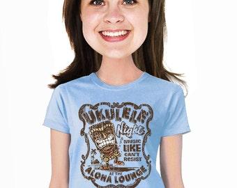 hawiian t-shirt tiki ukulele t-shirt for women geeky teens nerdy hip cool lowbrow tropical t-shirt gift for beachy girlfriend student s-2x