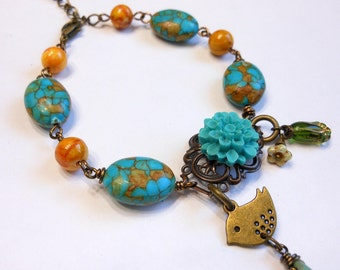 Mosaic Turquoise and Golden Agate Bracelet,Flower,Filigree and Bird Bracelet,