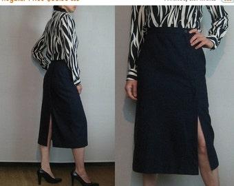 SUMMER SALE 60s 70s NAVY Wool Asymmetrical vtg High Waisted Wiggle Pencil Skirt Wool Blend  Small 1960s 1970s