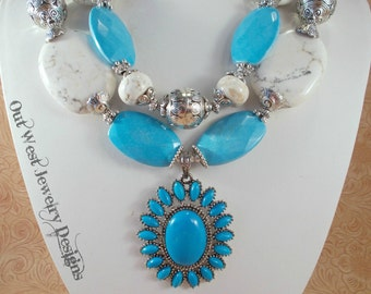 Cowgirl Necklace Set - Chunky Sky Blue and White Howlite - Southwest Style Pendant