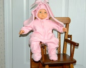18 Inch Doll and 15 Inch Baby Doll Pink Fleece Footed Bunny Suit by SEWSWEETDAISY